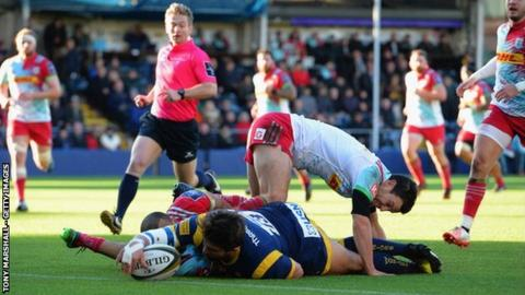 Wynand Olivier's try gave Worcester an early lead in Saturday's Anglo-Welsh Cup tie against Harlequins at Sixways but the Warriors went on to suffer a 28-22 home defeat