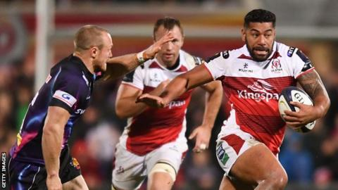 Charles Piutau runs through the Exeter defence to set up Sean Reidy's try for Ulster