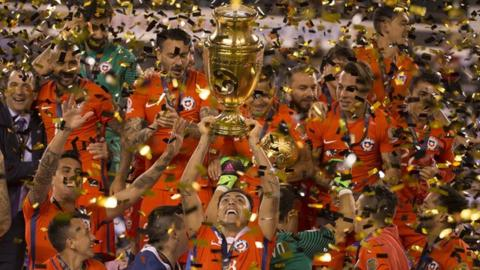 Chile celebrate with the Copa America