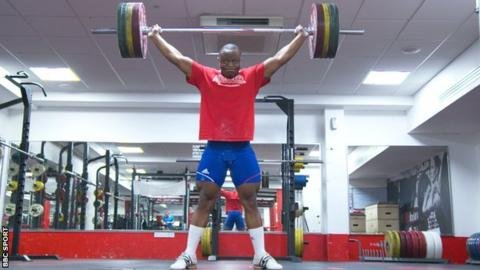 Refugee weightlifter Cyrille Tchatchet II training at Middlesex University