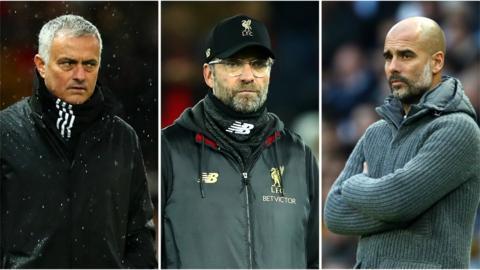 Jose Mourinho, Jurgen Klopp and Pep Guardiola