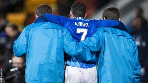 St Johnstone winger Drey Wright was carried off after 66 minutes on Saturday