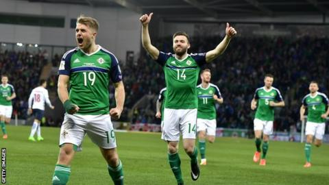 Northern Ireland celebrate their win over Norway