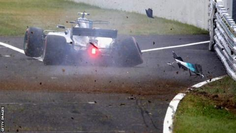 Valtteri Bottas crashes during final practice of the Japanese grand prix