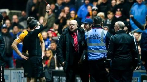 Fleetwood boss Joey Barton was red carded in the 70th minute by referee Paul Marsden for disputing a disallowed goal in the 0-0 draw with Bristol Rovers