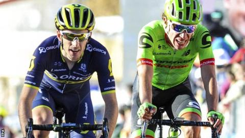 Adam Yates (left) in stage four action