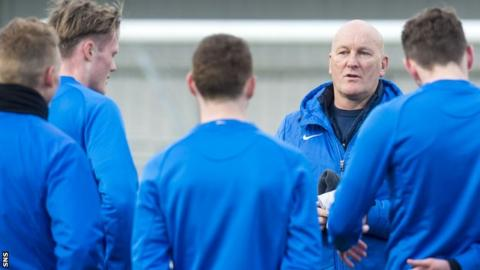 Greenock Morton manager Jim Duffy talks to his players