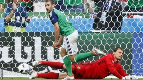 Niall McGinn celebrates scoring for Northern Ireland against Ukraine