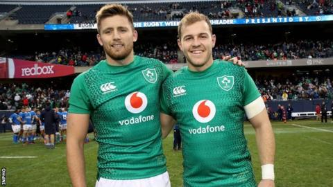 Ireland's Ross Byrne (left) and Will Addison (right)