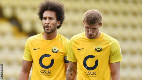 Torquay United defenders Josh Gowling and Sean McGinty