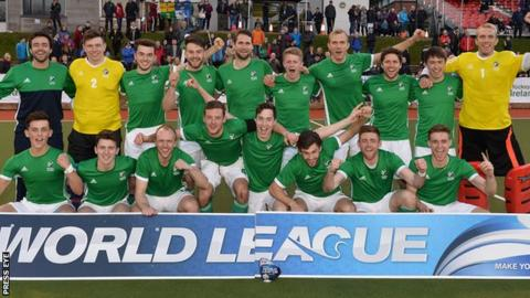 The victorious Ireland team celebrate their World League success after overcoming France