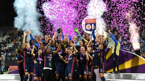 Kiev, Ukraine, 24 May: Lyon celebrate winning a record fifth Champions League final after their dramatic win against Wolfsburg. After 90 minutes the game was level at 0-0, but after going 1-0 down, they came back to score four goals in extra time. (Photo by David Ramos/Getty Images)