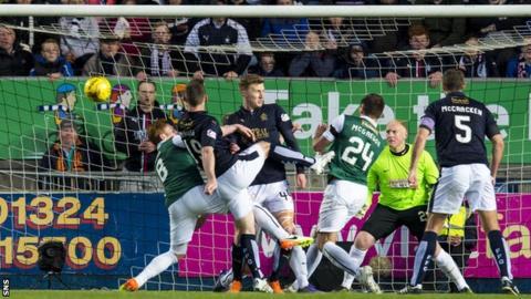 Bob McHugh scores for Falkirk against Hibernian