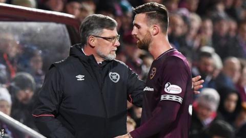 Hearts manager Craig Levein and David Vanecek