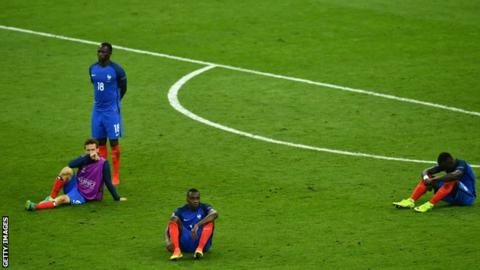 France players after being beaten by Portugal in the 2016 European Championship final