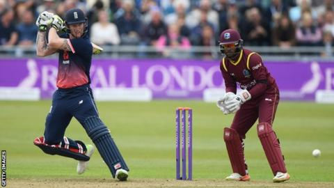 England's Ben Stokes plays a shot during a one-day international against West Indies