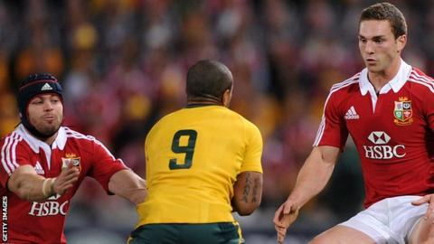Leigh Halfpenny and George North face Will Genia for the 2013 Lions