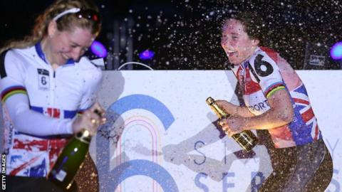Kate Archibald (right) held off a challenge from fellow Briton Laura Kenny at Six Day Manchester in March