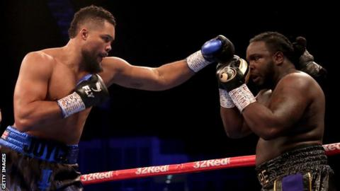British heavyweight Joe Joyce throws a punch during his win over Bermane Stiverne