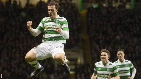 Celtic defender Erik Sviatchenko celebrates