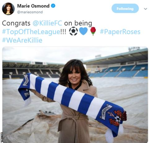 Marie Osmond with a Kilmarnock scarf at Rugby Park