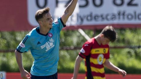 Eamonn Brophy celebrates one of his two goals against Partick