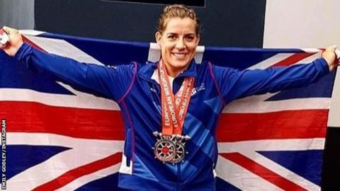 Emily Godley celebrates winning silver in Batumi