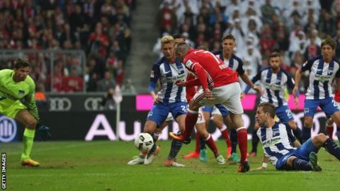 Franck Ribery opens the scoring for Bayern after twisting his way through  the Hertha defence 499be3192