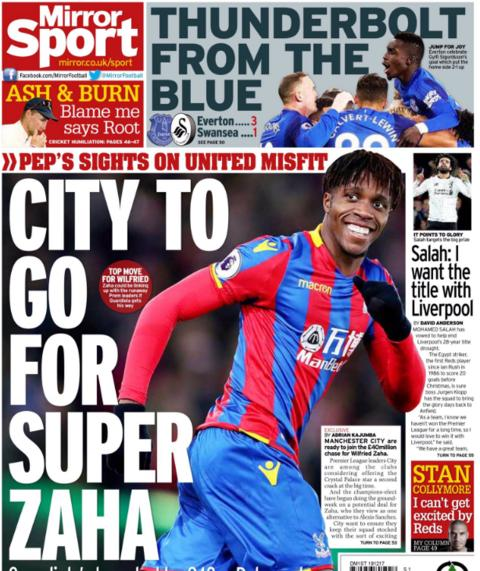 The Daily Mirror links Wilfried Zaha to Manchester City