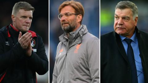 Eddie Howe (left), Jurgen Klopp (centre), Sam Allaryce (right)