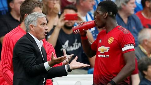 Jose Mourinho (left) and Paul Pogba