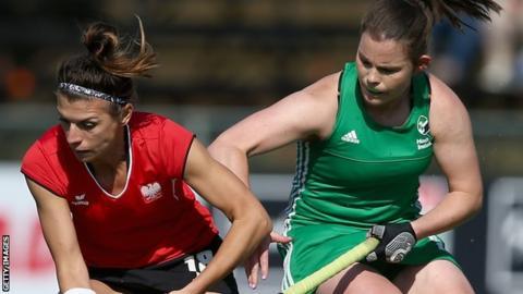 Natalia Wisniewska of Poland in action against Lizzie Colvin of Ireland