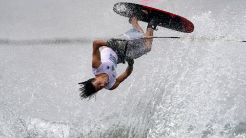 PUTRAJAYA, MALAYSIA - AUGUST 15: Nicholas Benatti of Italy in action during the Men's Serie Two Tricks Preliminary Round of the IWWF World Waterski Championship at the Putrajaya Water Sports Complex on August 15, 2019 in Putrajaya, Malaysia. (Photo by Allsport Co./Getty Images)