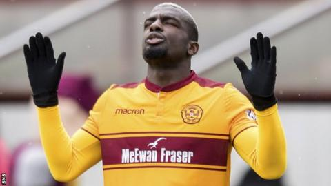 Cedric Kipre cuts an exasperated figure for Motherwell