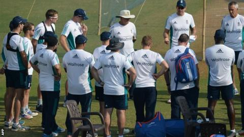 England cricket captain Alastair Cook speaks to his players during a training session in Mumbai on Friday