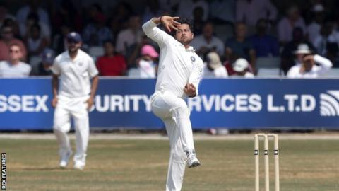 India spinner Kuldeep Yadav bowls during a tour match in England