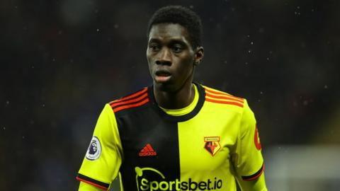 Ismaila Sarr in action for Watford FC
