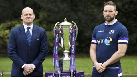 Scotland coach Gregor Townsend and captain John Barclay with the Six Nations trophy