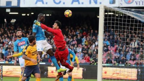 Kalidou Koulibaly heads in for Napoli