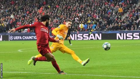 Mohamed Salah scores for Liverpool at RB Salzburg