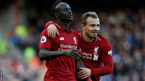 Liverpool's Sadio Mane and Xherdan Shaqiri
