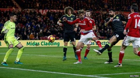 Chelsea's Diego Costa scores against Middlesbrough
