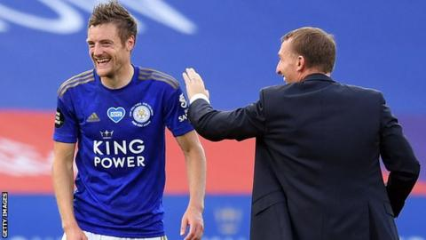 Leicester City manager Brendan Rodgers (right) and striker Jamie Vardy