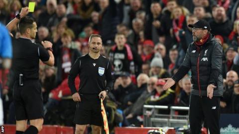 Jurgen Klopp being booked against Napoli