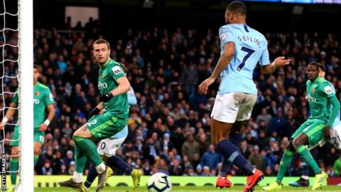 b03fd8323 Man City 3-1 Watford  Sterling hat-trick lifts leaders clear of ...