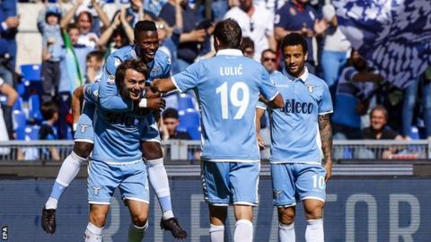 Lazio's players celebrate scoring against Sampdoria