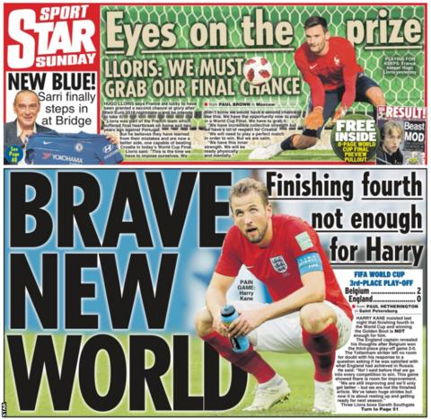 The Star on Sunday shows England's Harry Kane and says the striker feels finishing fourth at the World Cup is not enough