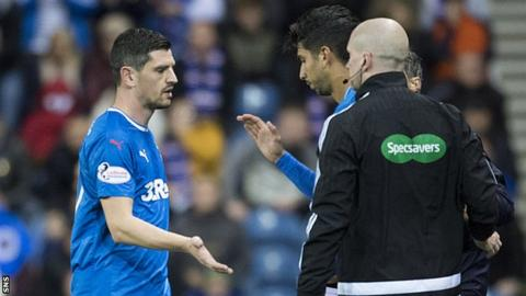 Graham Dorrans is replaced by Daniel Candeias during Rangers' draw with Kilmarnock in October