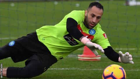 Napoli goalkeeper David Ospina makes a save in training