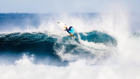 Bronte Macaulay of Australia surfing
